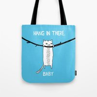 power Tote Bags featuring Hang in There, Baby by gemma correll