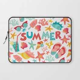 Summer seamless pattern with ice-cream, suglases, cocktail,  starfish, coral, flip flop sandals. Vac Laptop Sleeve