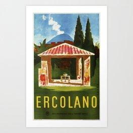 Ercolano Naples Italian summer travel ad Art Print