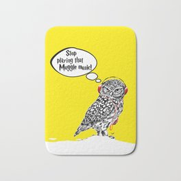 Hedwig hates that muggle music Bath Mat