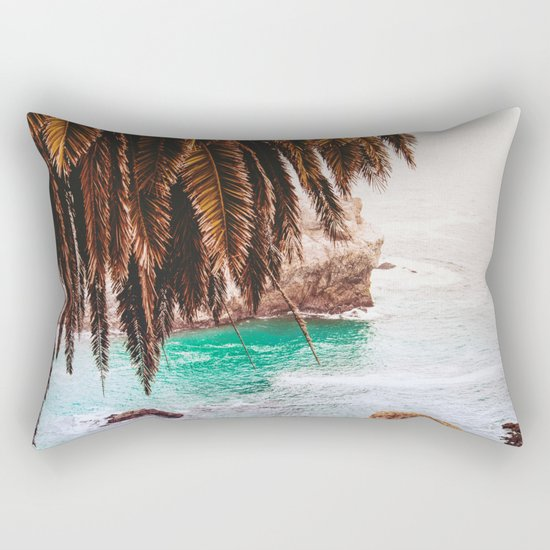 vintage ocean #palm tree Rectangular Pillow