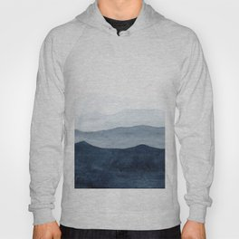 Indigo Abstract Watercolor Mountains Hoody