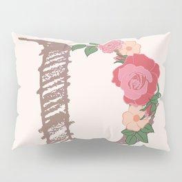 "Rose Gold Floral Letter ""D"" Pillow Sham"