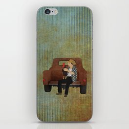 Rooster man and his pick up truck iPhone Skin