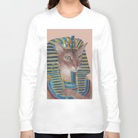 egyptian Long Sleeve T-shirts featuring Egyptian Cat by Rachel Waterman