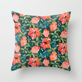 Vibrant Rhododendrons Throw Pillow