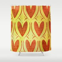 hearts Shower Curtains featuring Hearts by Camille