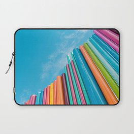 Colorful Rainbow Pipes Against Blue Sky Laptop Sleeve