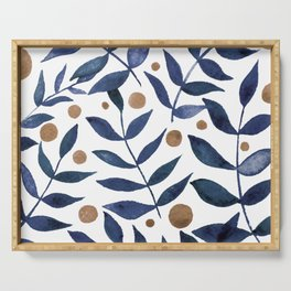 Watercolor berries and branches - indigo and beige Serving Tray