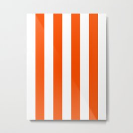 Vertical Stripes - White and Dark Orange Metal Print