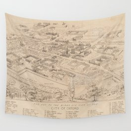 Vintage Pictorial Map of Oxford England (1850) Wall Tapestry