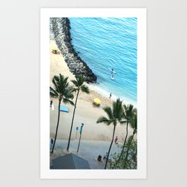 Waikiki Beach Fun, Hawaiian Tropical Paradise, rectangle Art Print