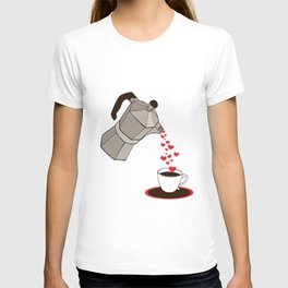 Kitchen Living Room Interior Wall Home Decor with Cuban Coffee Maker pouring Hearts T-shirt