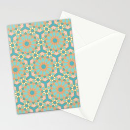 Elegant pastel islamic geometric pattern, teal & orange Stationery Cards