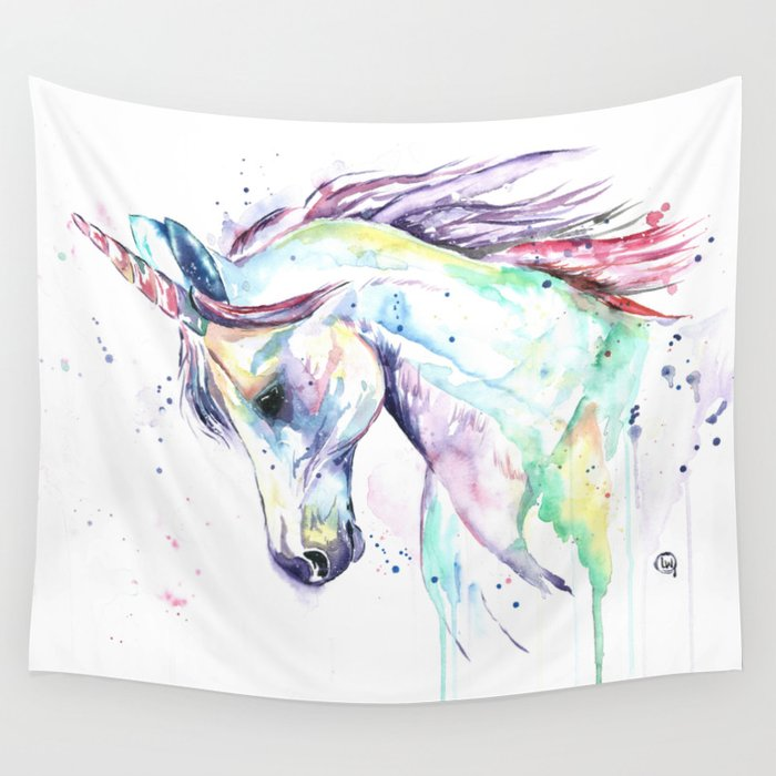 Colorful Unicorn Watercolor Painting Kenzie S Unicorn Wall Tapestry By Whitehouseart