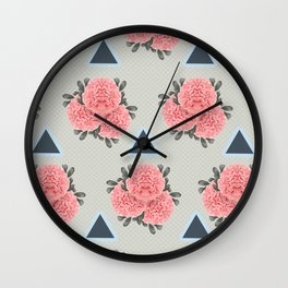 Peonies and Triangles Wall Clock