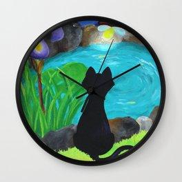 Black Cat & Fireflies Wall Clock