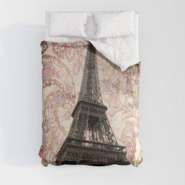 Floral Eiffel Tower in Paris, France Comforters
