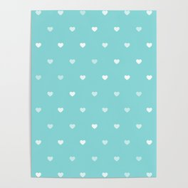 Baby Blue Heart Pattern Poster