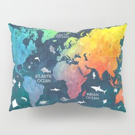 Ocean World Map color #map #worldmap Pillow Sham
