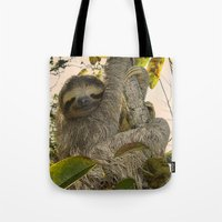 sloth Tote Bags featuring Sloth by MehrFarbeimLeben
