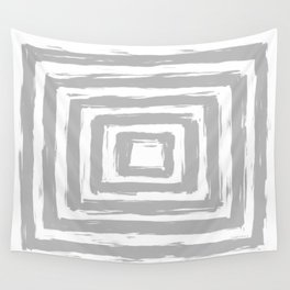 Minimal Light Gray Brush Stroke Square Rectangle Pattern Wall Tapestry