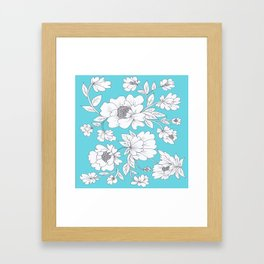 Floral in Turquoise Framed Art Print