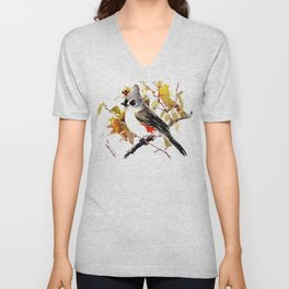 Titmouse and Fall colors foliage bird art design bird lover gift vintage style Unisex V-Neck