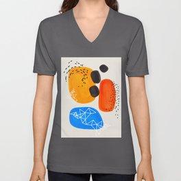 Fun Mid Century Modern Abstract Minimalist Yellow Orange Blue Watercolor Bubbles Unisex V-Ausschnitt