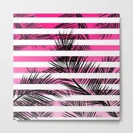 Tropical neon pink pastel ombre gradient palm tree white geometric stripes Metal Print