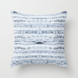 Boho Stripes Indigo Blue Throw Pillow