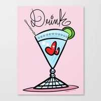 drink Canvas Prints featuring Drink by Art In The Garage
