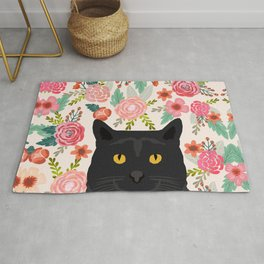 Black Cat florals spring summer animal portrait pet friendly cat lady gifts for her or him cute cats Rug