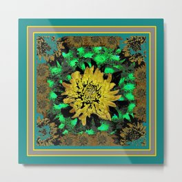 Abstracted Teal-Green Yellow Chrysanthemums Floral Metal Print