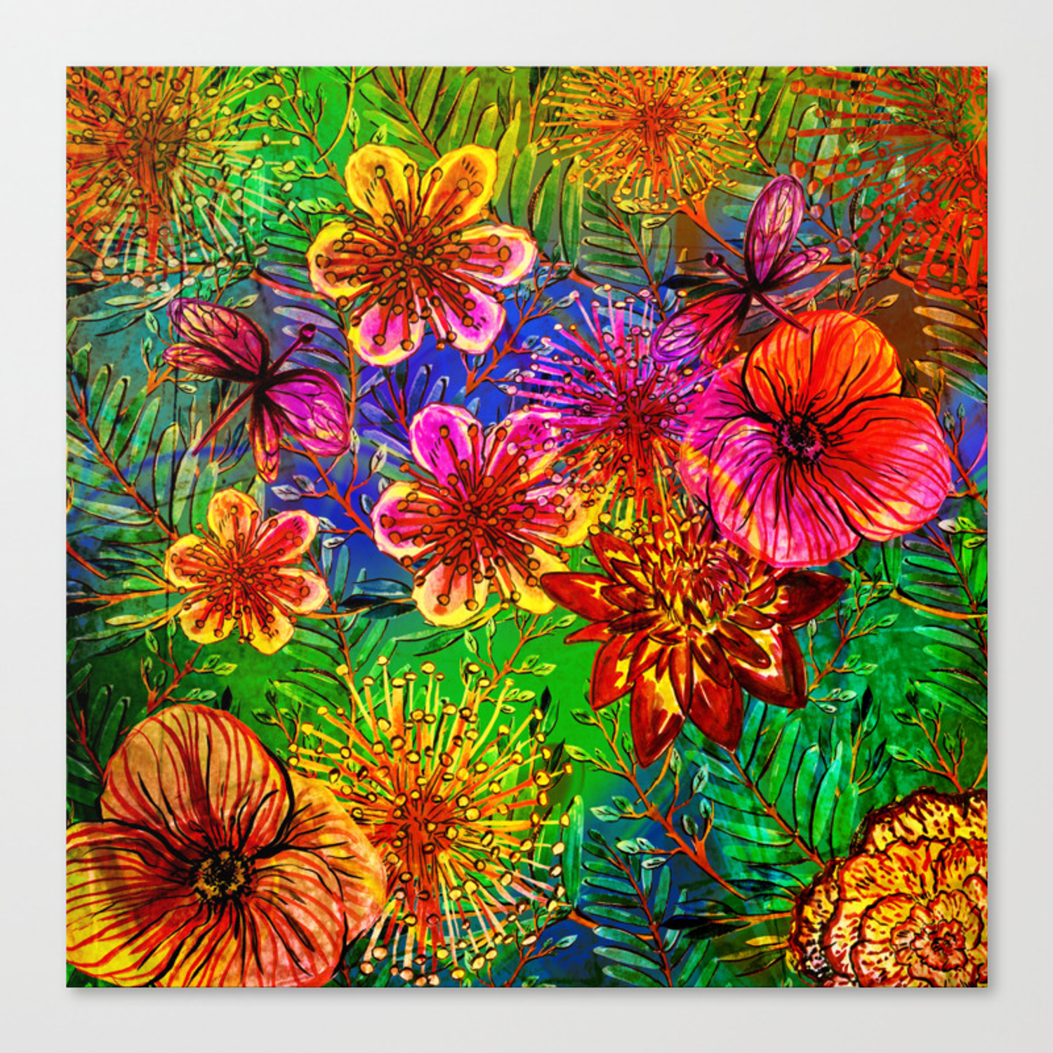 Tropical Heat Colorful Floral Exotic Tropical Flower Pattern