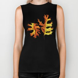 Ink And Watercolor Painted Dancing Autumn Leaves Biker Tank