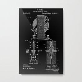 Nikola Tesla Electro Magnetic Motor Patent Art - White on Black Metal Print