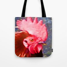 Head of a Red Rooster Tote Bag