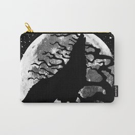 WOLF AND MOON IN BLACK AND WHITE Carry-All Pouch