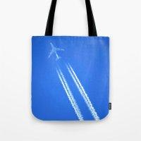 airplane Tote Bags featuring Airplane by Uldis Ķēniņš