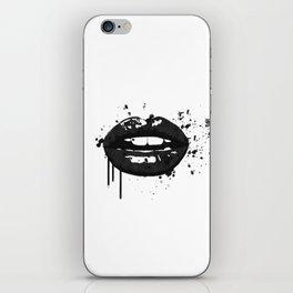 Black and white glamour fashion lips iPhone Skin