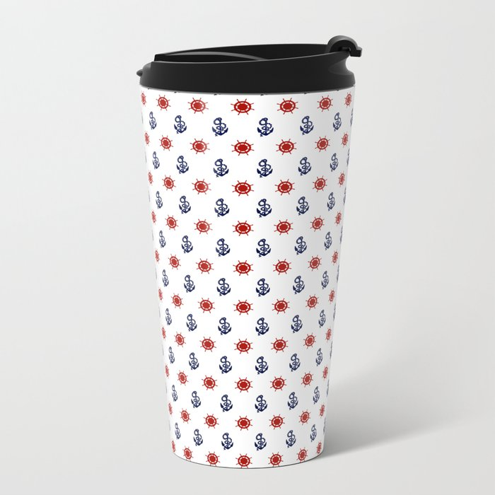 Maritime Seaside Beach Pattern - Anchors and Wheels - Mix & Match with Simplicity of life Travel Mug
