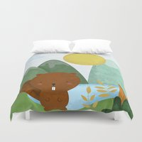 beaver Duvet Covers featuring little beaver by Proyecto Melón