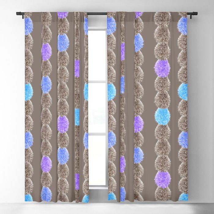 Blue fluffy fur balls pattern Blackout Curtain