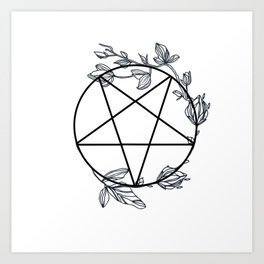 Witch's Pentagram with Flora Adornments Art Print