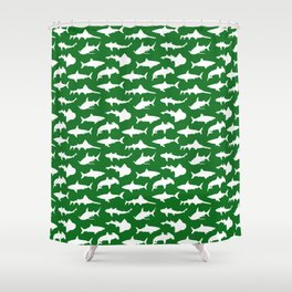 Sharks on Jewel Green Shower Curtain