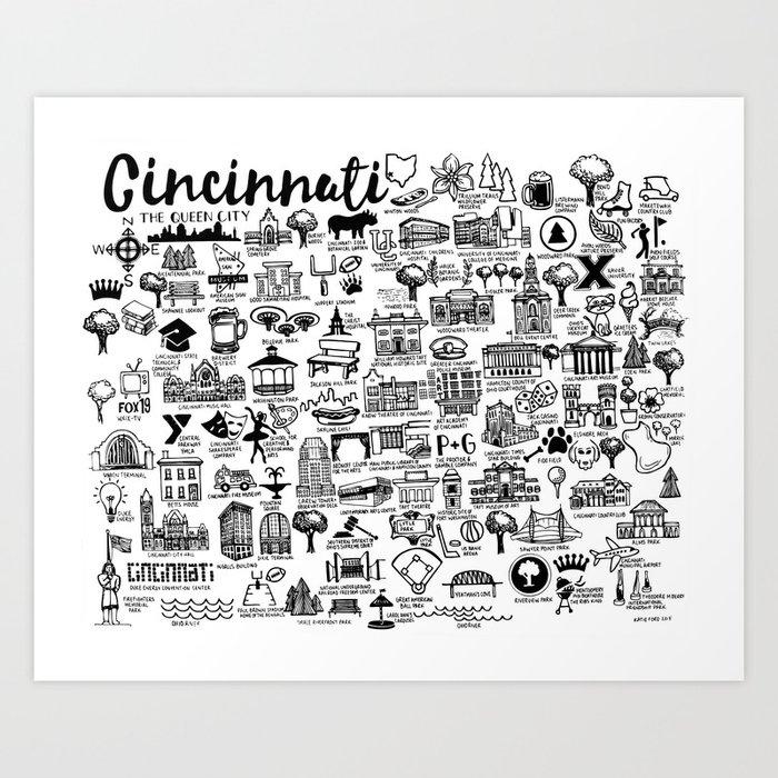 Cincinnati Ohio Map Art Print by fiberandgloss | Society6 on
