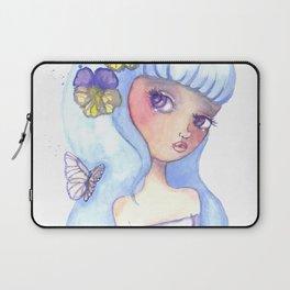 Violet Eyes Cute Girl Illustration Laptop Sleeve