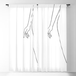 Female body hand line drawing Blackout Curtain