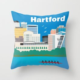 Hartford, Connecticut - Skyline Illustration by Loose Petals Throw Pillow